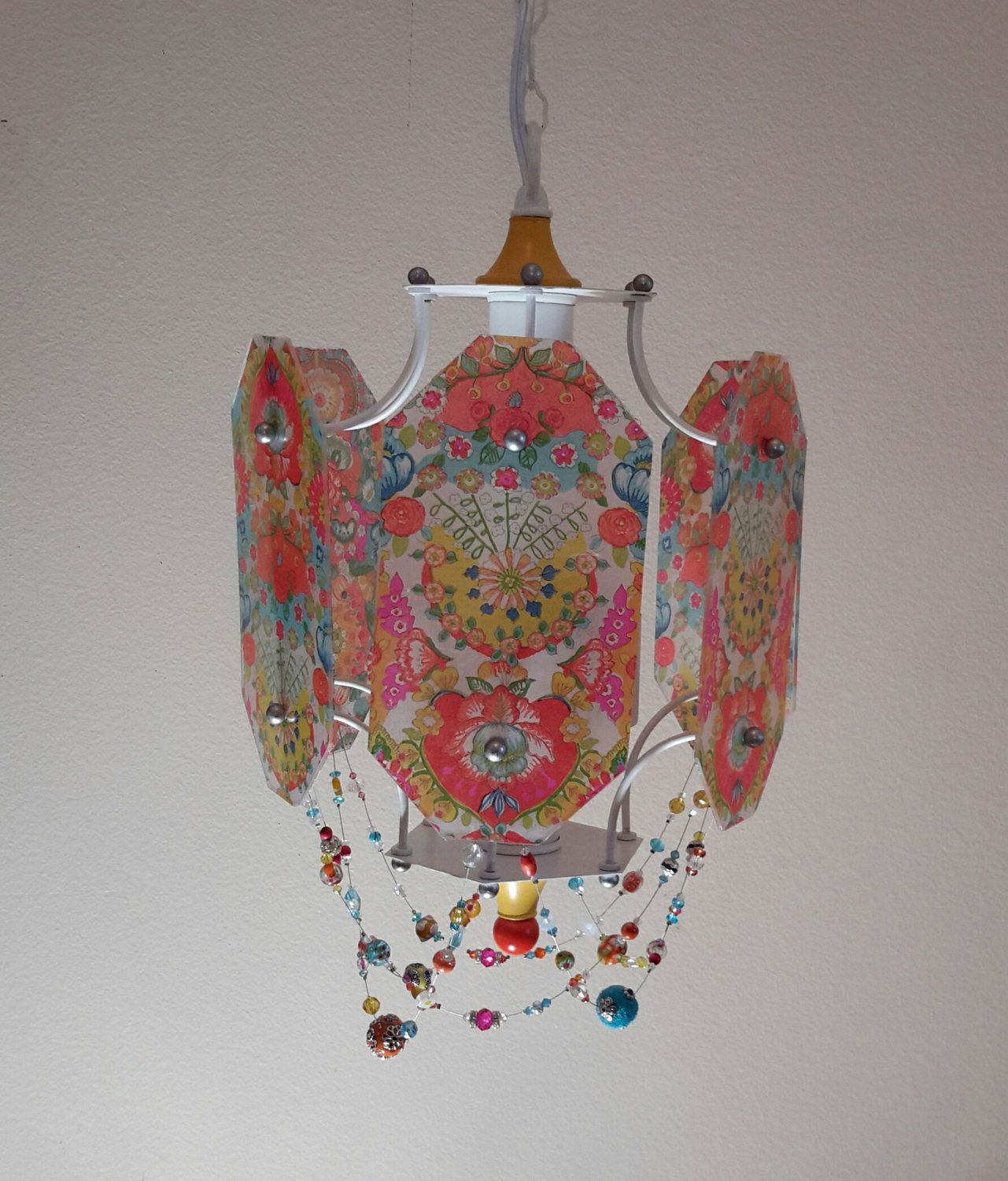 Colorful bohemian chandelier bright fun happy boho colors yellow
