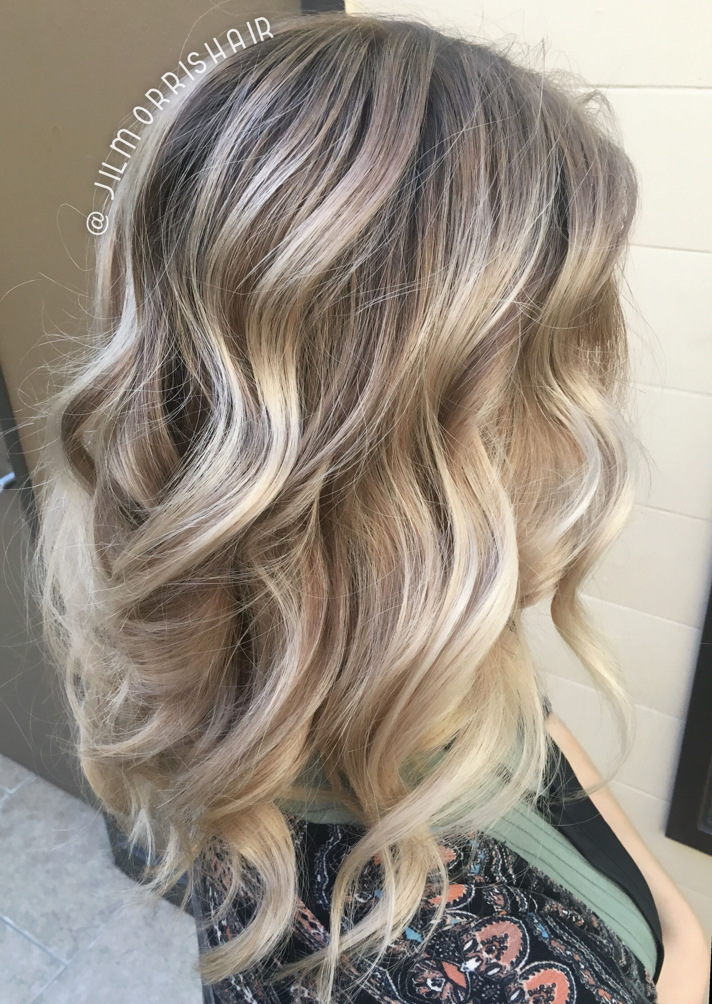 Cool ashy blonde balayage highlights with neutral shadow root ...