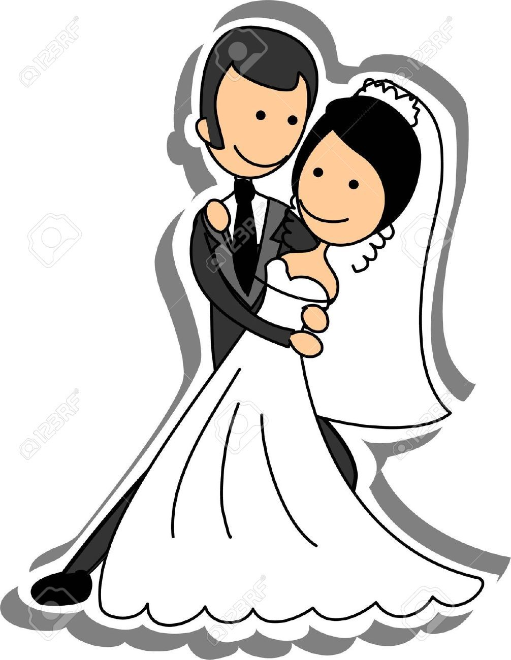 wedding picture bride and groom in love royalty free cliparts  [ 1006 x 1300 Pixel ]