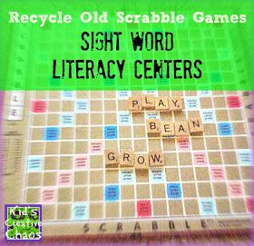 How to Recycle Scrabble into a Literacy Center for Sight Words and Language Arts