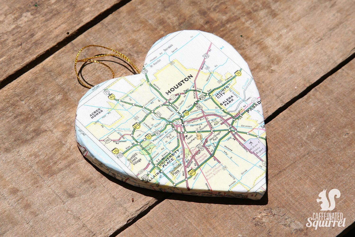 Houston, Texas - Vintage Map Covered Heart Ornament - TX, Home Decor ...