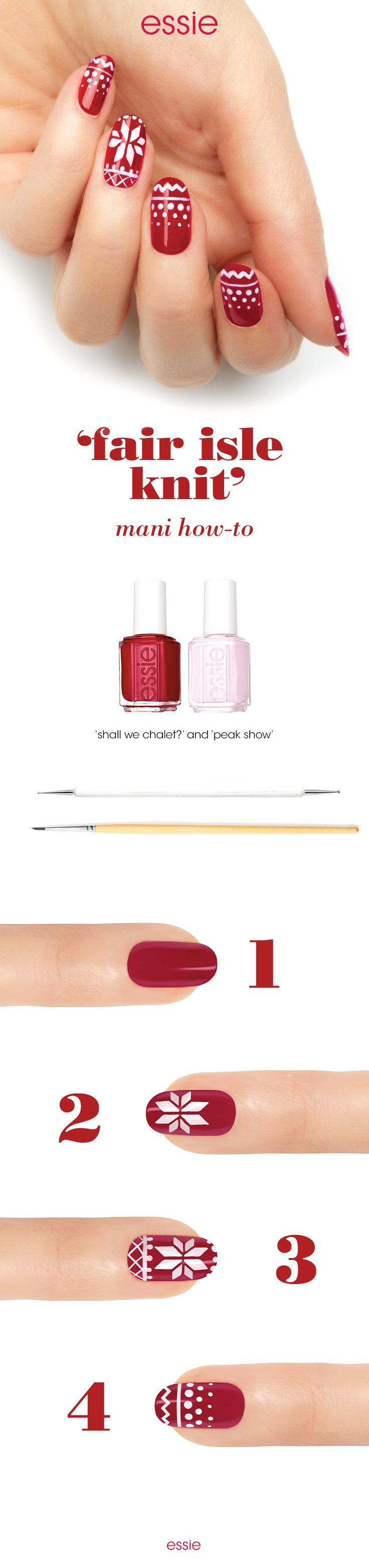Get into the season with an advanced nail look. Start with essie base coat. Next, apply 2 coats of 'shall we chalet?'. Then, use a striping brush and create a geometric snowflake design in the center of the accent nail using 'peak show'. Follow it up with a knit sweater pattern above and below the snowflake using a dotting tool. Then, create a knit pattern on the other nails with 'peak show' using both the tools. Voila! Your sweater weather mani is ready in all its winter glory.