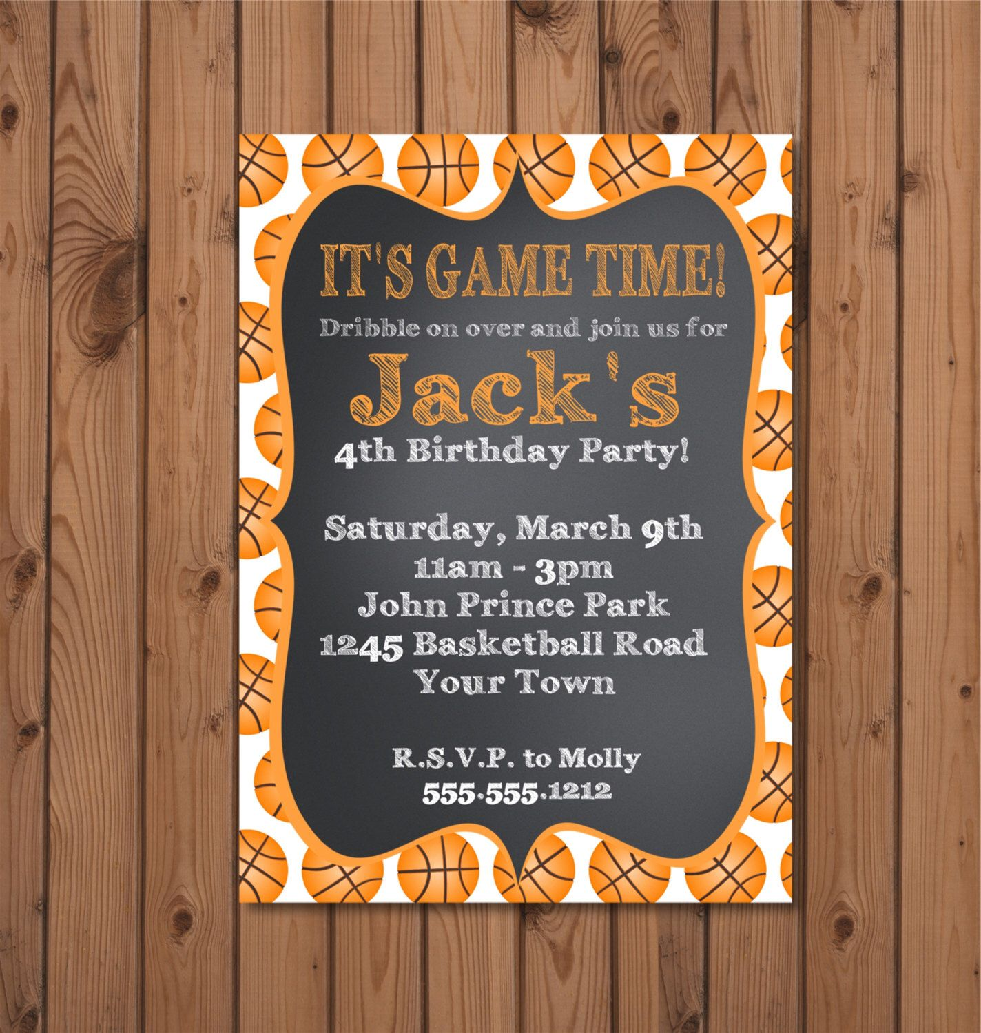 Basketball Birthday Party Invitation - Digital File - You Print by ...