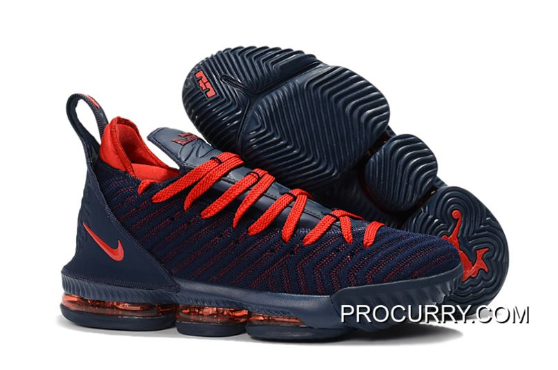 large discount price reduced exquisite style Big Deals Nike LeBron 16 Navy Blue/University Red Basketball Shoes ...