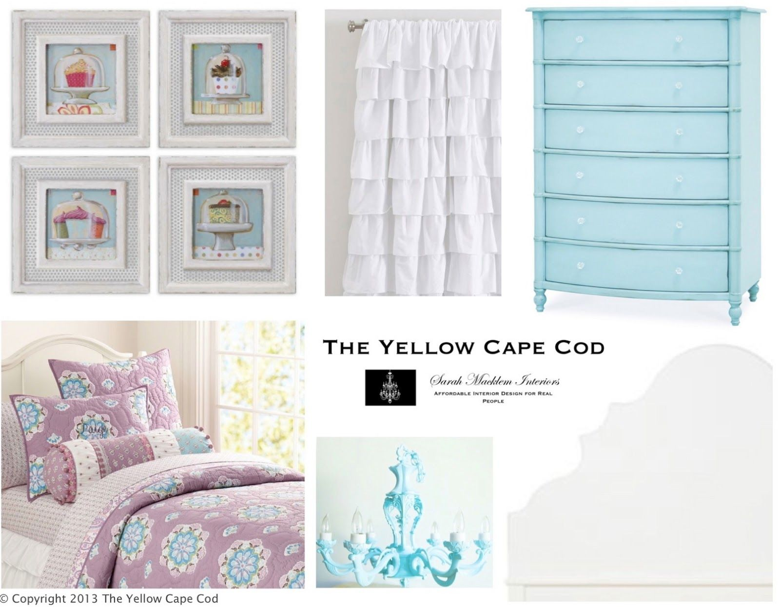The yellow cape cod turquiose and lavender girls room inspired by