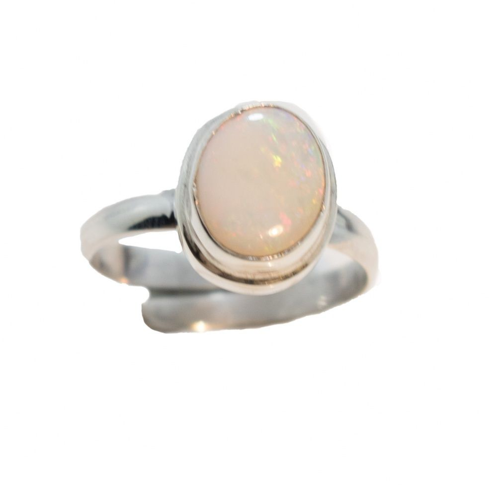 This One Of A King Hand Made Brilliant Solid White Australian Opal Ring Features Neon Rainbow Colors Including Australian Opal Ring Opal Engagement Opal Rings