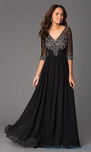 Long V Neck Formal Gown With Sheer Sleeves Cocktail Dressesparty