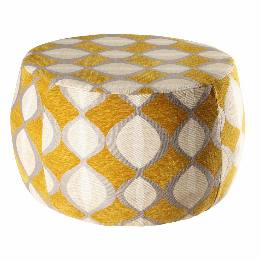 pouf jacquard de velours moutarde et beige mode pinterest pouf beige et pouf jaune. Black Bedroom Furniture Sets. Home Design Ideas