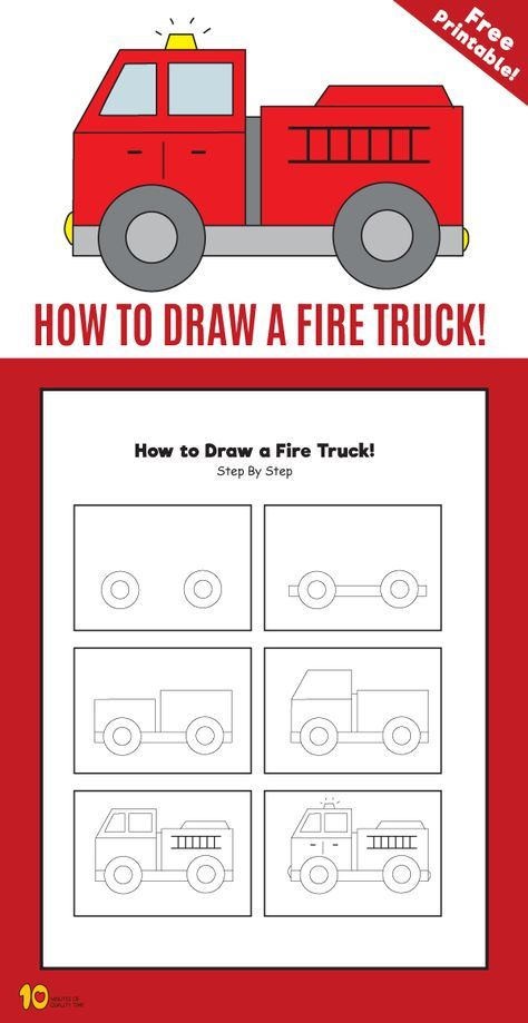 How To Draw A Fire Truck : truck, Truck, Minutes, Quality, Drawing, Lessons, Kids,, Drawing,