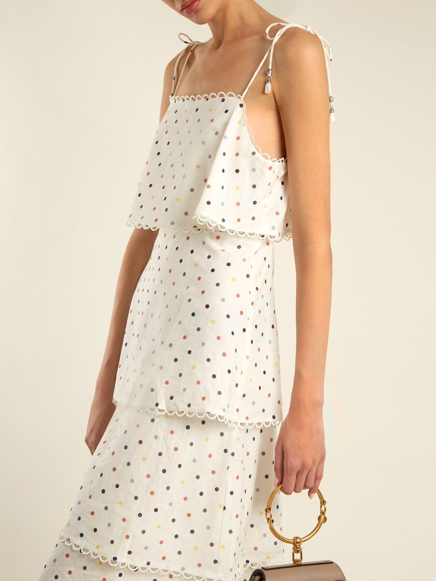 dcd8ef30df92 Click here to buy Zimmermann Polka-dot print linen and cotton-blend dress  at MATCHESFASHION.COM