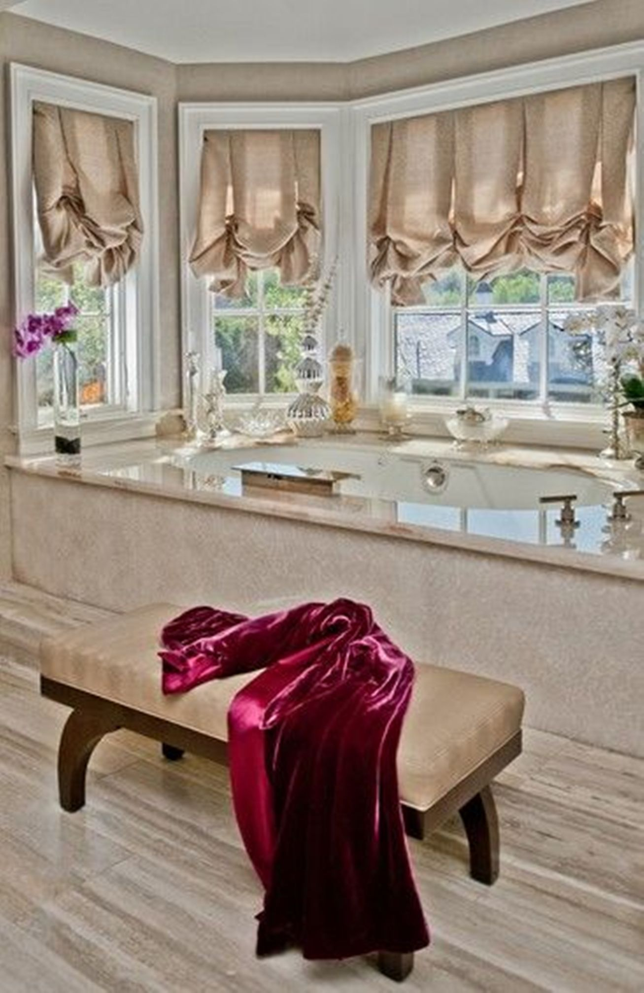 Bathroom Window Treatments Balloon Shades Over For Neutral Bathroom