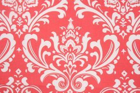 Medallion Prints :: Premier Prints Ozbourne Drapery Fabric in Coral/White - Fabric Guru.com