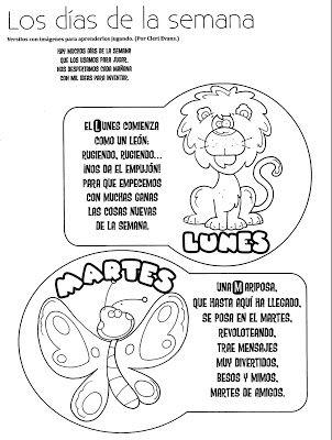 El rincon de la infancia los d as de la semana poes as for Canciones para jardin de infantes