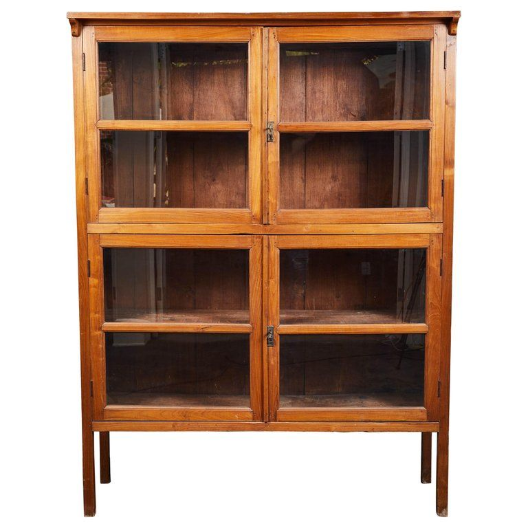 1stdibs Bookcase 1920s 4 Door Glass Panel Cabinet Indonesian American Craftsman Teak Craftsman Storage Cabinets Glass Shelves