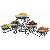 New 3 Tier Buffet Server 5 Stoneware Serving Dishes Wrought Iron Stand Catering Buffet Server Gourmet Buffet Iron Decor