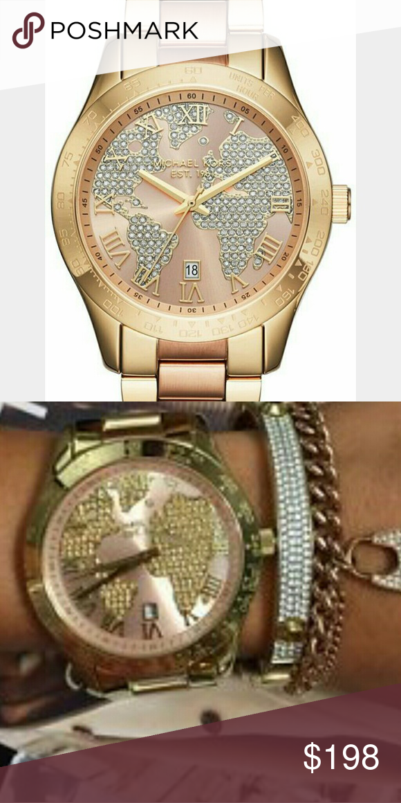 1d697caded02 Michael michael kors mk6476 gold   rose gold NWT Layton globe pave (thL) Michael  michael kors Accessories Watches