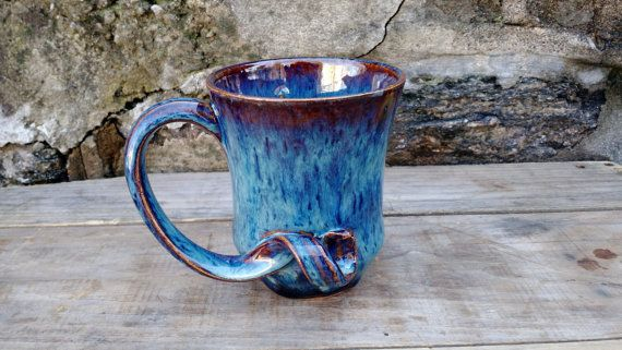 Blue Curved Handle Mug Handmade Ceramic Ready to by WorksofHope