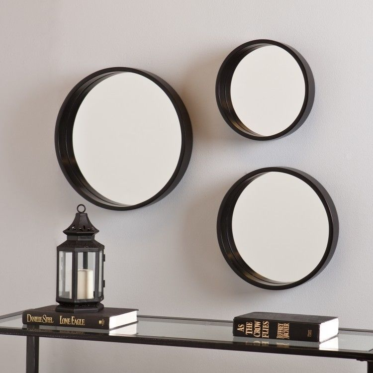 Modern Wall Mirror Set Black 3 Circular Varying Size Decorative Round Mirrors Hollymartin
