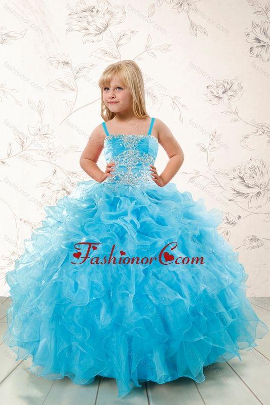 2015 Modest Appliques and Ruffles Aqua Blue Little Girl Pageant Dress XFLGA45FOR