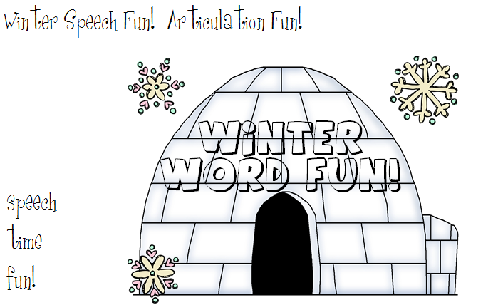 Speech Time Fun Winter Speech FunArticulation Activities With A