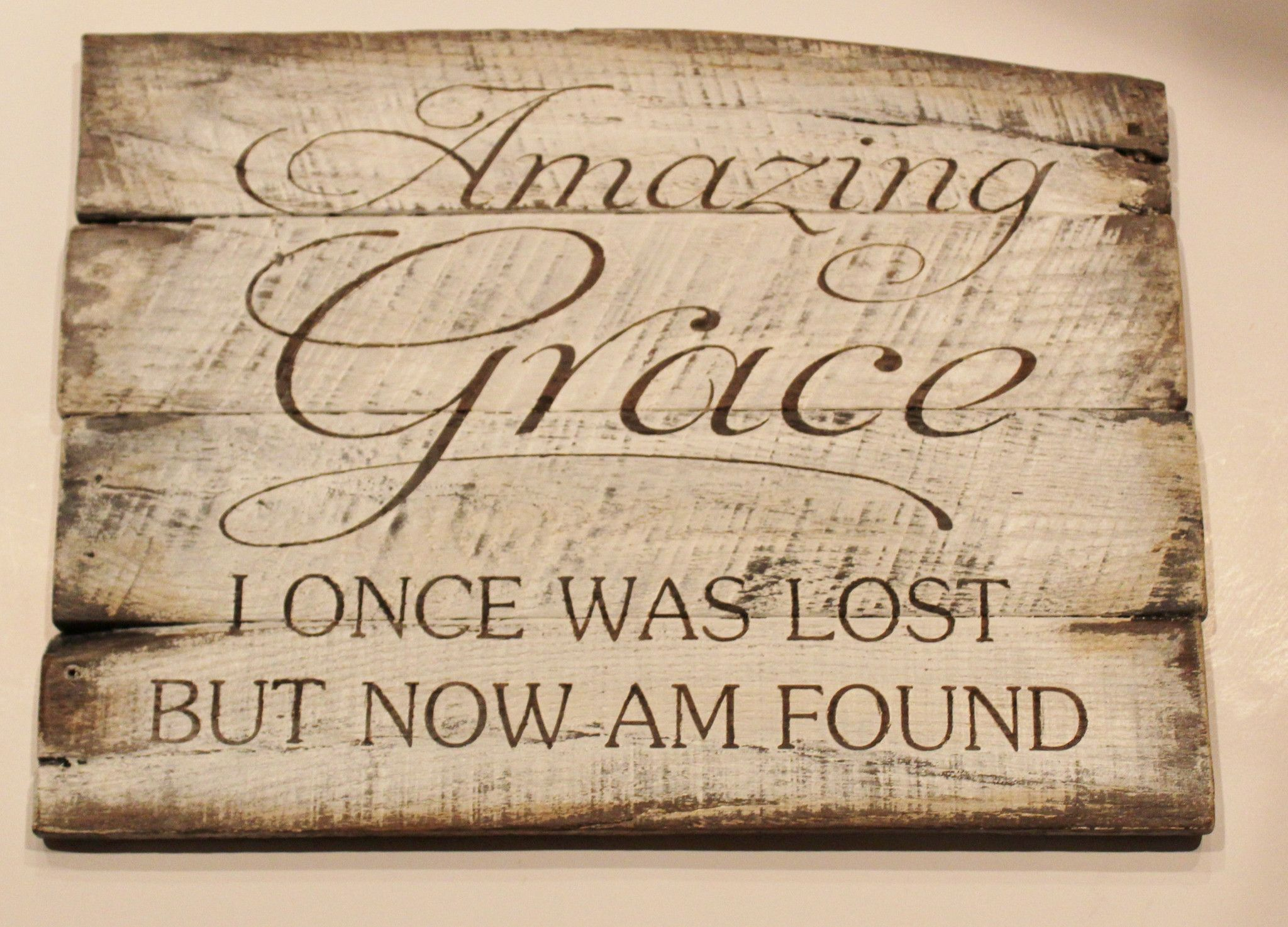 Amazing grace wall art hand painted wood sign gift for christian