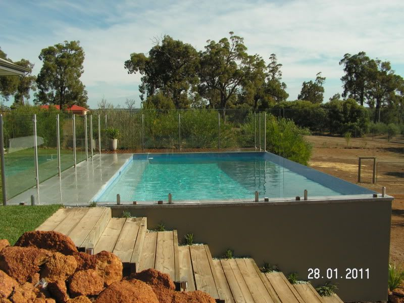 Block pool designs and decks google search pool for Pool design for sloped yard