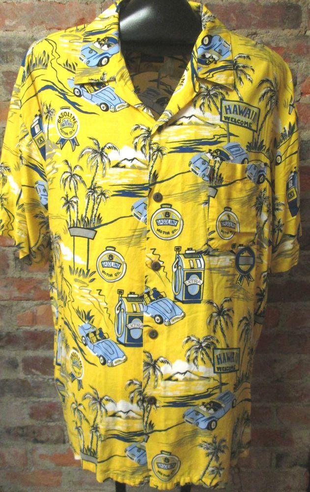 43193d56 Vintage Hawaiian Shirt L Rayon Sports Car Palm Trees Gas Pump Signs Yellow  Mens #PineappleConnection #Hawaiian