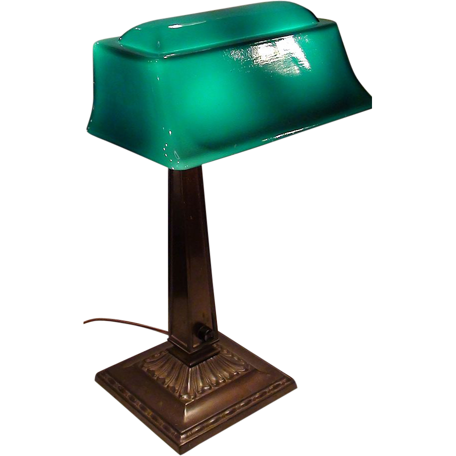 Emeralite #9 Desk Lamp with Rare Form Shade | Vintage Banker Lamps ...