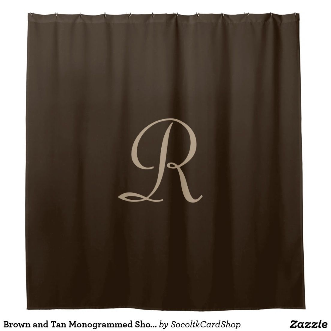 Brown And Tan Monogrammed Shower Curtain Zazzle Com Elegant