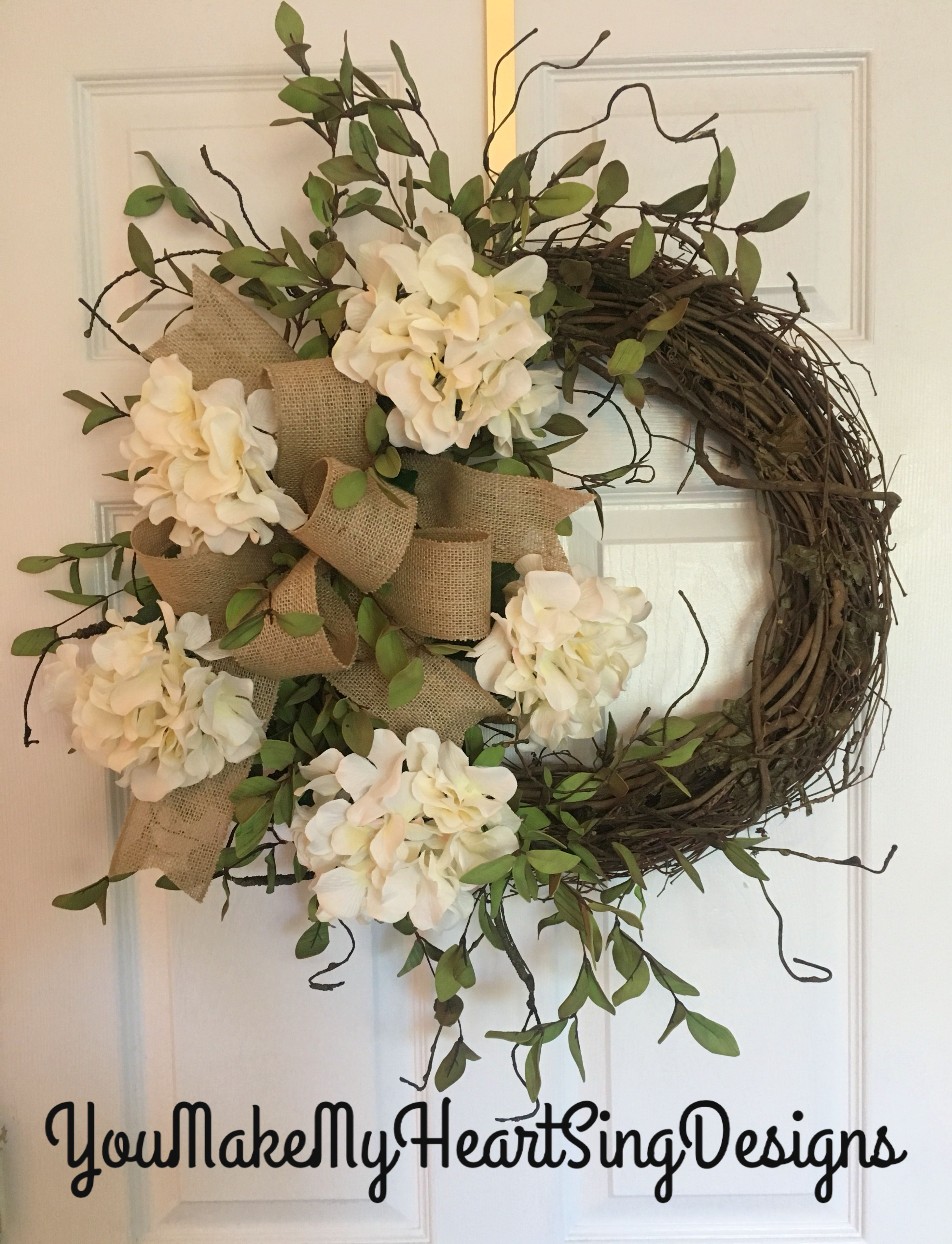 farmhouse wreath hydrangea wreath burlap bow farmhouse hydrangea rh pinterest com