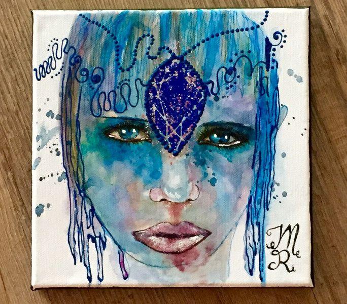 Aquarell - Portrait - abstrakt - Leinwandgemälde - ein Designerstück von mizzonybaby bei DaWanda