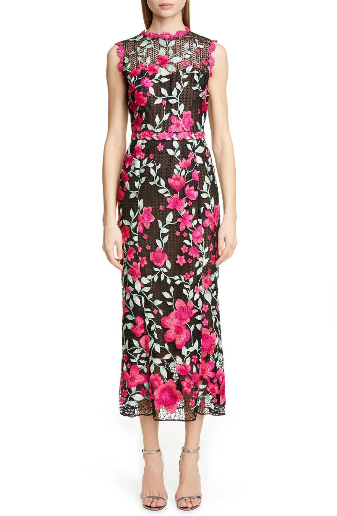 Marchesa Notte Floral Embroidered Crochet Midi Sheath Dress | Nordstrom
