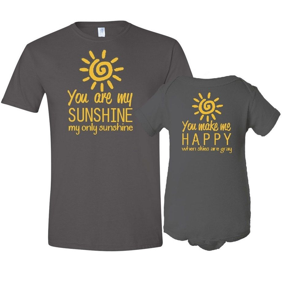 You Are My Sunshine Mother T-Shirt Son / Daughter Bodysuit ...
