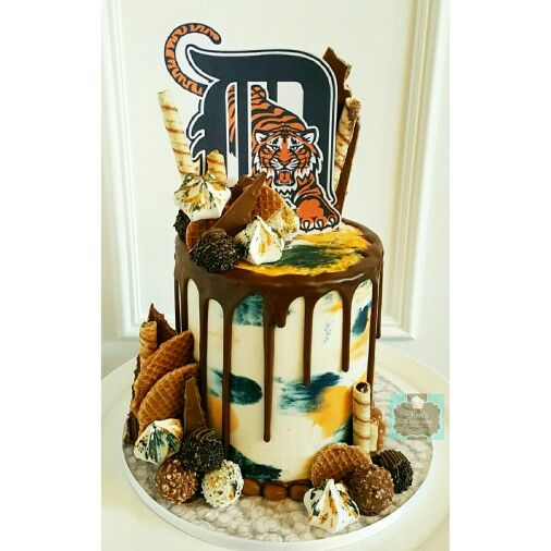 Detroit Tigers baseball drip cake Keri's Kreations