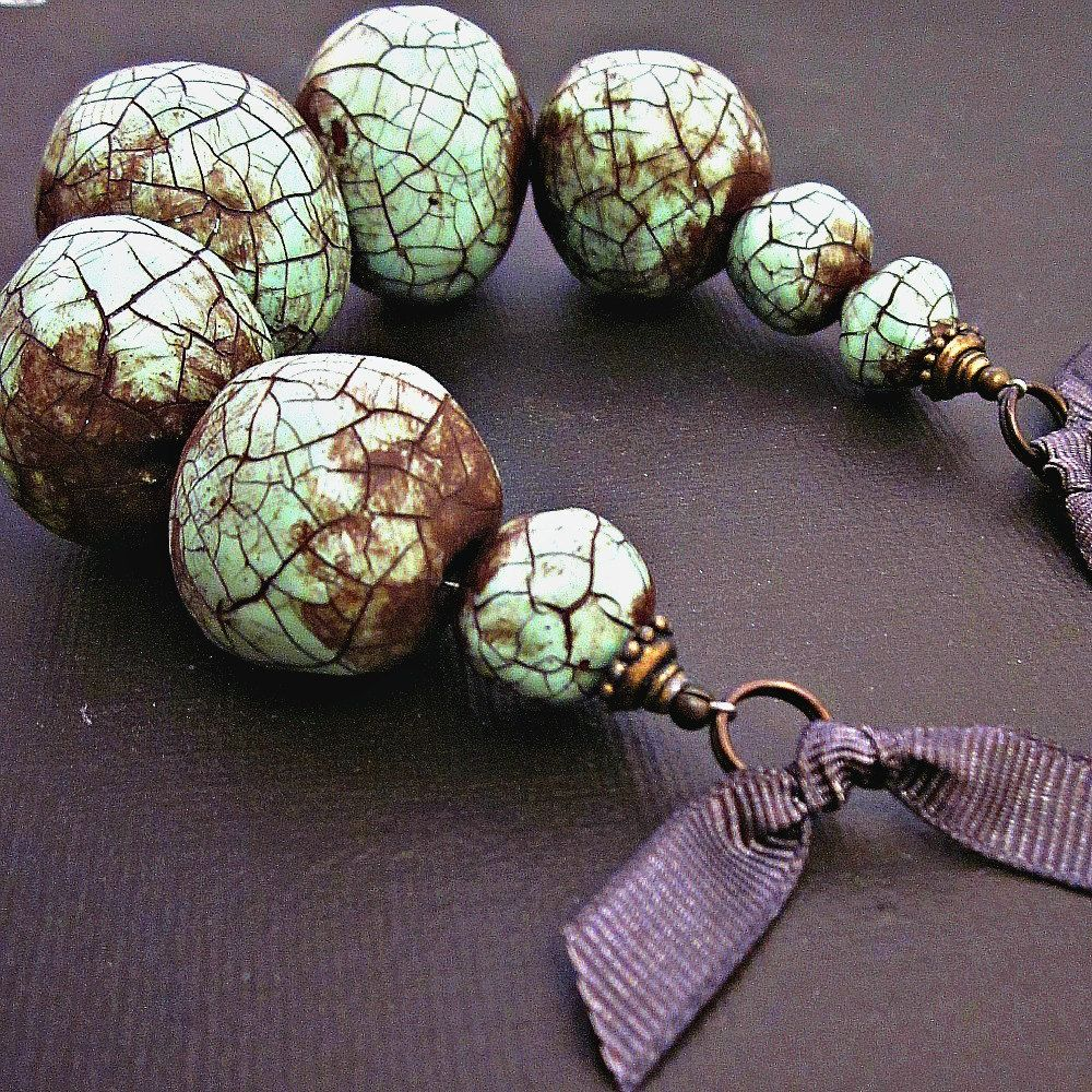 Paper mache necklace chunky beaded mint green crackle for How to make paper mache jewelry