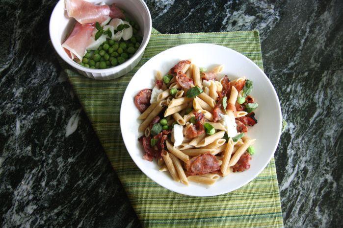 Crispy Prosciutto, Mozzarella and Fresh Pea Pasta