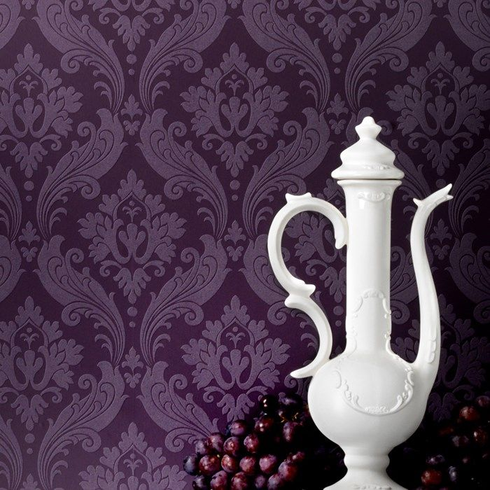 Vintage Flock Wallpaper By Kelly Hoppen Purple Damask Wall Coverings By Graham Brown