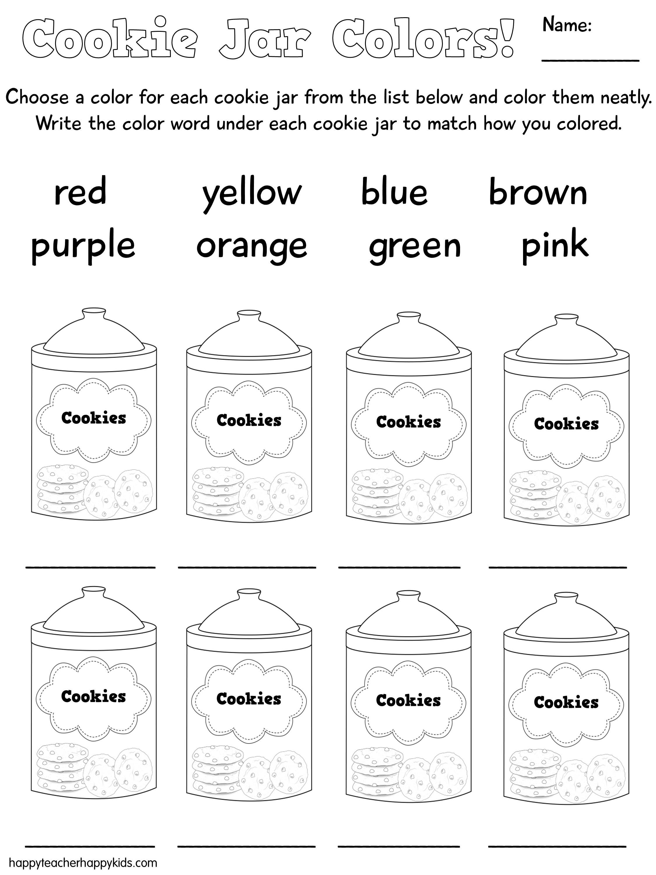 Back To School Cookie Jars To Practice Color Words