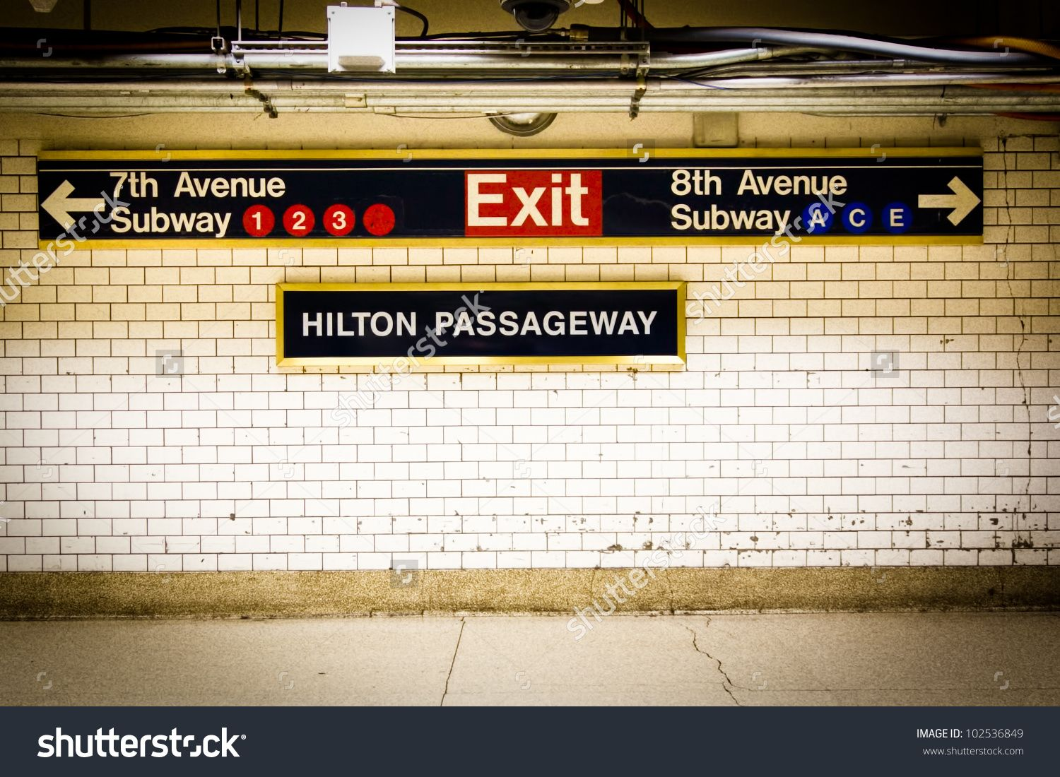 NYC Penn Station subway directional sign on