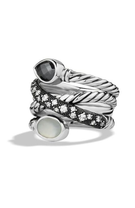 Grisaille Crossover Ring with Hematine, Moon Quartz, and Diamonds