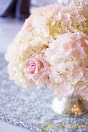 blush pink and white hydrangea and rose low centerpiece the french rh pinterest com
