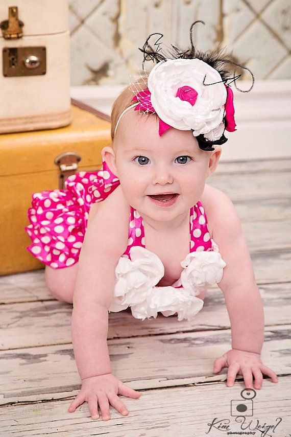 Hot Pink Polka Dot Bubble Romper Set with Matching Headband - Photo Prop - 1st Birthday - Ready to Ship