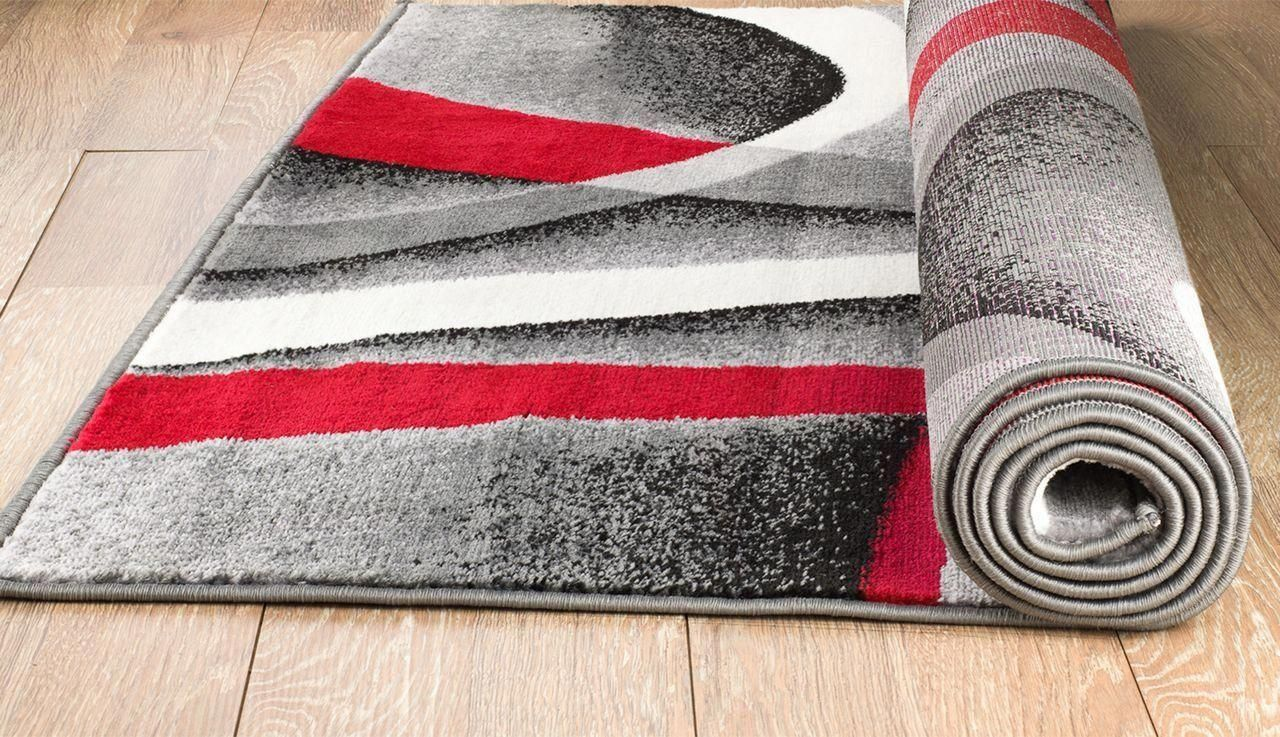 Area Rug With Black Red And Gray