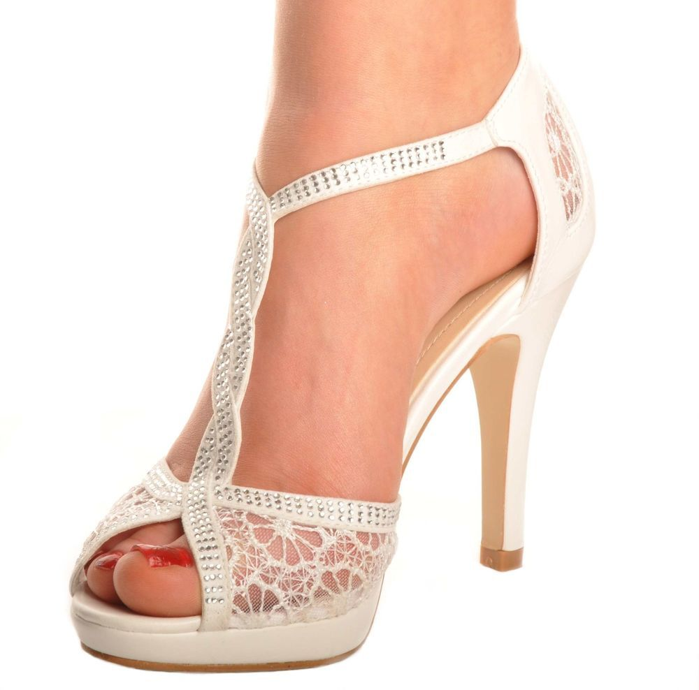 Off White Lace Diamante Platform Wedding Sandals Heels T-Bar Peeptoe Shoes  in Clothes 67acf876a5ec