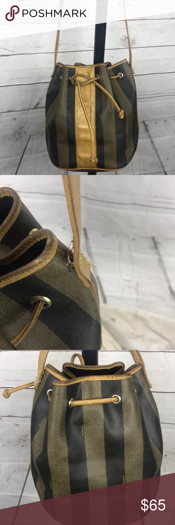 Vintage Fendi Drawstring Bucket Bag Canvas Please see all pics and ASK any  question before you 3cec6ee82c