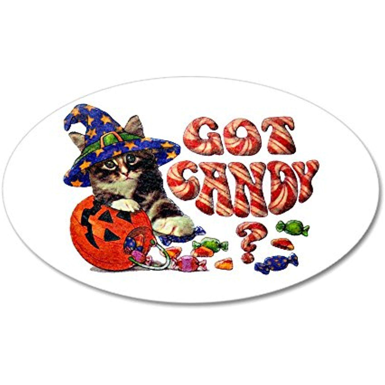 20x12 Oval Wall Vinyl Sticker Halloween Got Candy Kitten