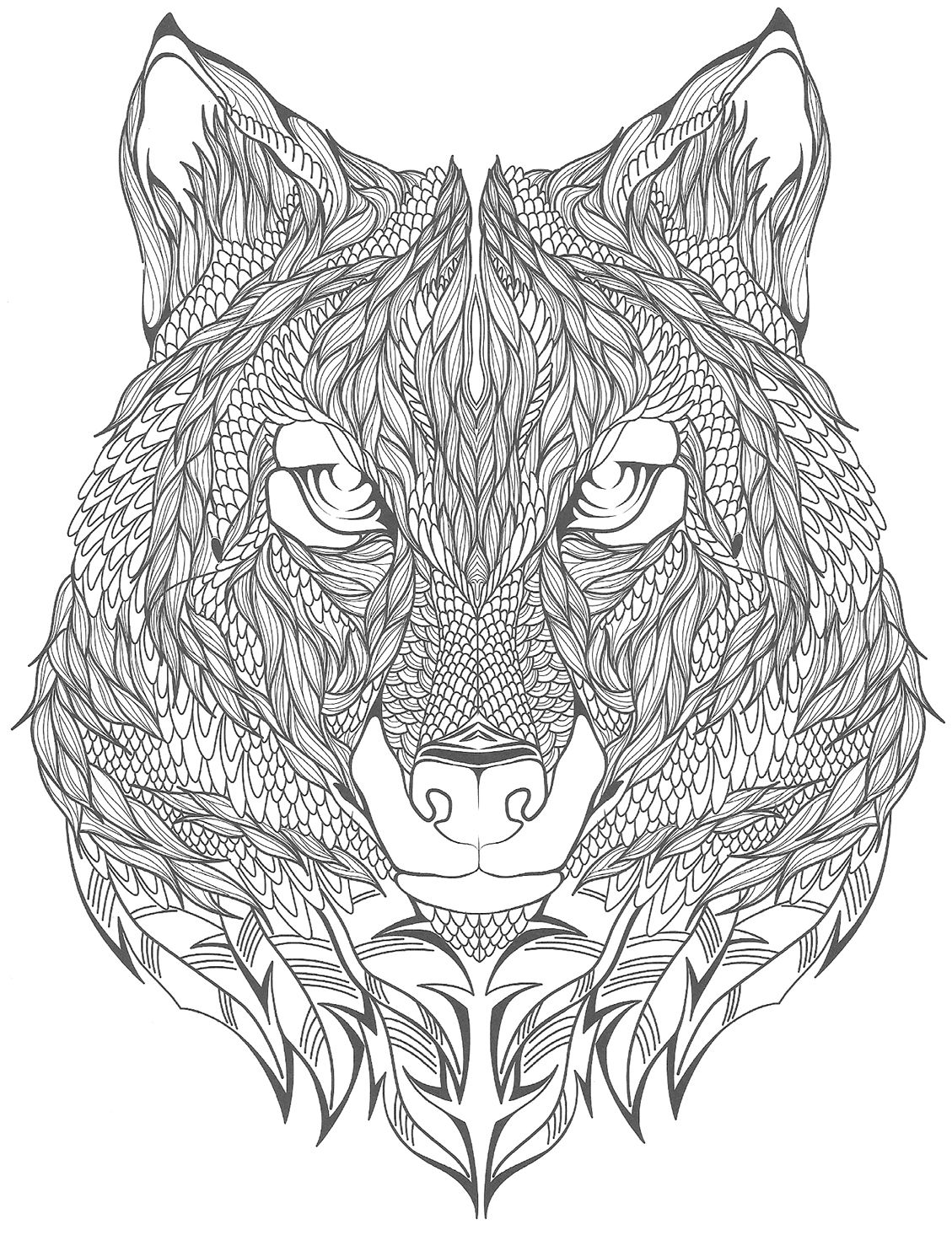 Top tatouage loup à colorier | Coloring | Pinterest | Tatoo, Mandala  KA98