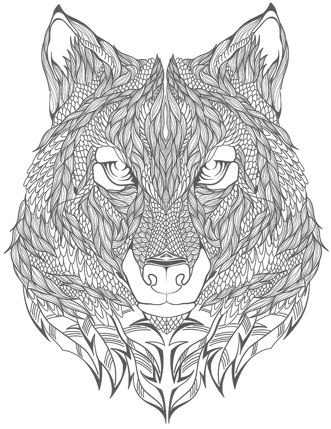 tatouage loup à colorier | Drawings | Pinterest | Tatoo, Mandala and ...