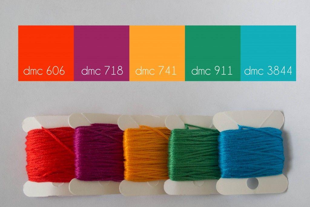 dmc floss color combination, pretty palette: summer splash