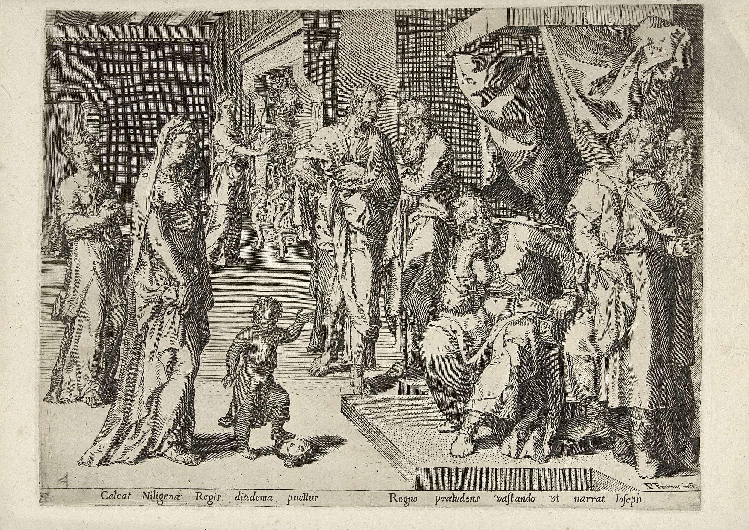 Pieter Jalhea Furnius   Mozes en de kroon van de farao, Pieter Jalhea Furnius, 1550 - 1625   Op een dag zet de farao voor de grap zijn kroon op het hoofd van Mozes. Ogenblikkelijk gooit Mozes de kroon op de grond en trapt erop. Rechts bekijkt de tronende farao, geflankeerd door dienaren, het tafereel bedachtzaam. Achter Mozes staat de dochter van de farao die Mozes eveneens gadeslaat. Onder de voorstelling staat een regel tekst in het Latijn.